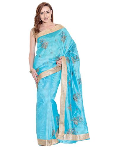 Pothys Sarees-Blue Tussar Silk Pothys Saree 2