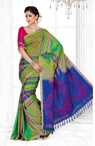 Pothys Sarees-Green And Blue Mayuri Menpattu Silk Saree 5