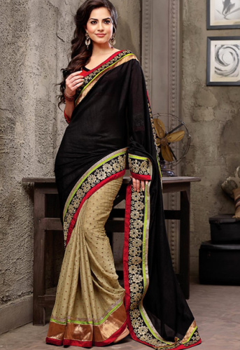 Pothys Sarees-Pothys Black And Cream Georgette Designer Saree 6