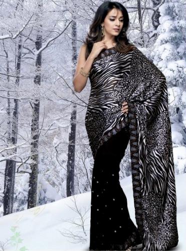 Printed Saris-Black And White Animal Print 8
