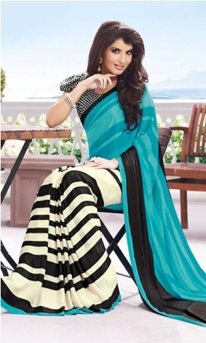 Printed Saris-Black And White Striped Sari 6