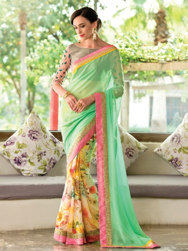 Printed Saris-Mint And Cream Floral Sari 9