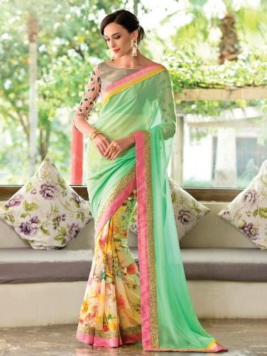 Printed Saris-Mint And Cream Floral Sari 9