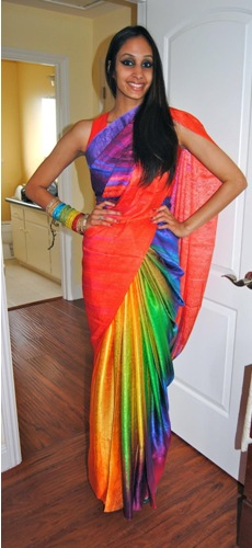 Printed Saris-Multi Coloured Designer Sari 7