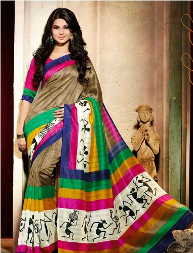 Printed Saris-Multi Coloured Warli Border Sari 3