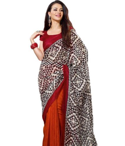 Printed Saris-Rust Sari With Black And White Geometric Print 5
