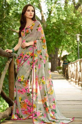 Printed Saris-Vintage Floral Print Sari 4