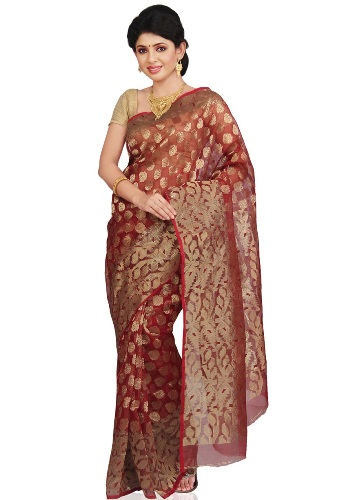 Pure Silk Red And Gold Jamdani 3