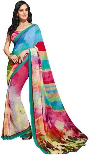 Radhika Sarees-Multi Coloured Radhika Georgette Sari 5