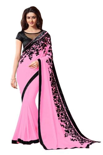 Radhika Sarees-Pink And Black Radhika Saree 4