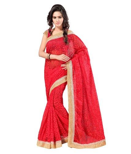 Radhika Sarees-Red Net Brasso Radha Sari 7
