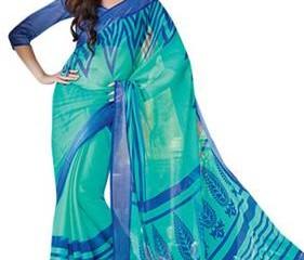 Radhika Sarees-Shades Of Blue Printed Georgette Radhika Saree 2