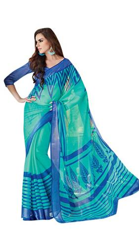 Radhika Sarees-Shades Of Blue Printed Georgette Radhika Saree 2