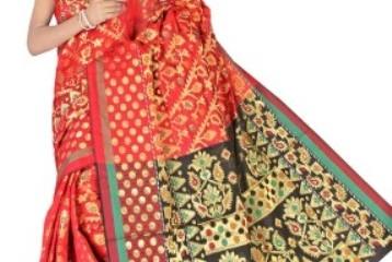Red And Black Jamdani Saree 9