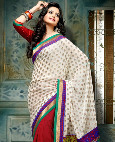Red And Off-White Brasso Saree 5