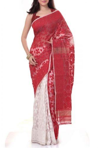 Red And White Cotton Jamdani