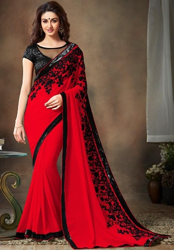 Red Georgette Saree 5