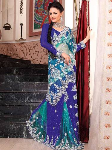 Royal And Aqua Blue Crystal Work Sari 1