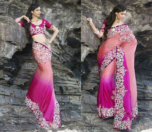 Shades Of Pink Heavy Work Sari 9