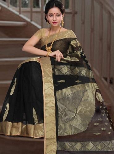 Tant Sarees -Black And Gold Tant Saree 7