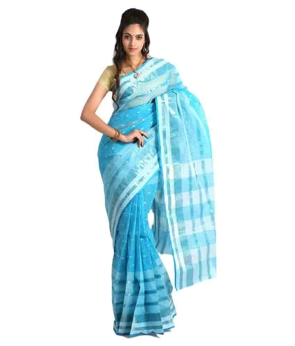 Tant Sarees -Blue And White Tant Cotton 6