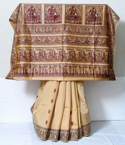 Tant Sarees -Cream And Maroon Baluchari Tant 2