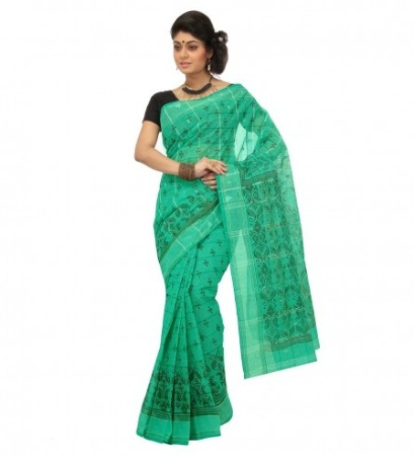Tant Sarees -Green And Cream Tant Cotton Saree 8