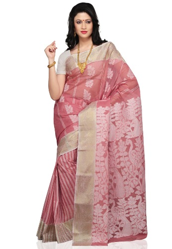 Tant Sarees -Pink And White Pastel Tant 5
