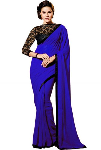 The Deep Blue Saree For Full Sleeve Blouses