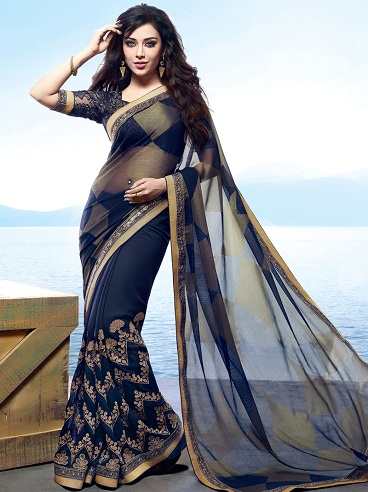 The Navy Blue Transparent Saree