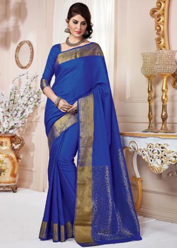 Tussar Sarees-Blue Tussar Silk Saree 1