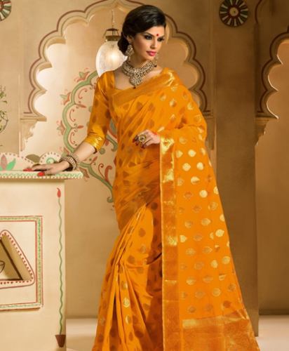 Tussar Sarees-Golden Yellow Designer Tussar Silk Saree 5