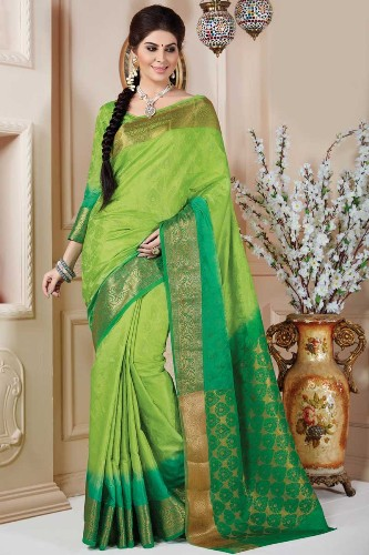 Tussar Sarees-Green Tussar Art Silk Cotton Saree 06