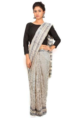 Tussar Sarees-Off-White Block Printed Tussar Silk Saree 02