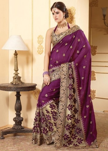 Tussar Sarees-Purple Embroidered Tussar Silk 08