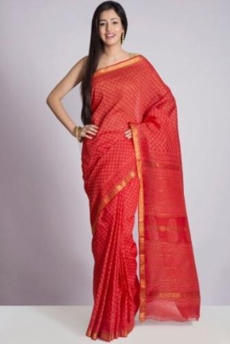 Tussar Sarees-Red Maheshwari Tussar Silk Saree 4