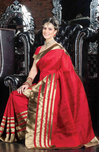 Tussar Sarees-Red Tussar Silk With Shimmering Golden Border 9