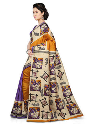 Tussar Sarees-Yellow And Violet Block Printed Tussar Silk Saree 3