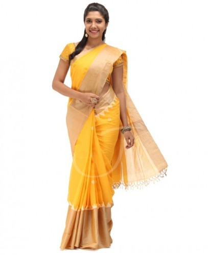 Tussar sarees-Yellow Tussar Cotton Saree 07