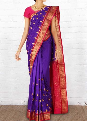 Violet-Pink Vastrakala Pattu Saree
