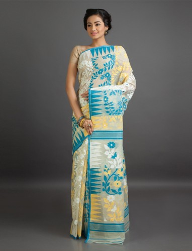 White And Blue Translucent Jamdani Cotton Saree 7