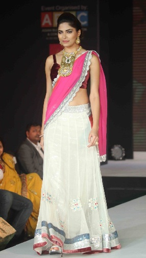 White And Light Pink Designer Half Saree