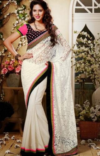 White Designer Net Brasso Saree 8