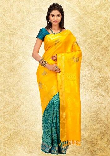 Yellow-Blue Pothys Kanjeevaram Saree
