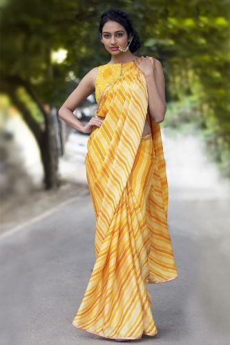 Yellow Hues Leheriya Saree 8