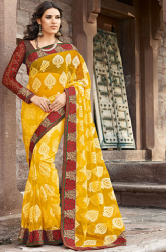 Yellow Net Brasso Saree 2