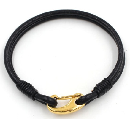 gold-bracelets-for-women-14k-gold-knot-lock-leather-bracelet