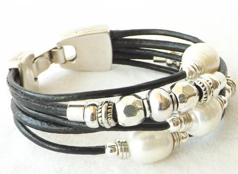 black-leather-freshwater-pearl-silver-cuff-bracelet9