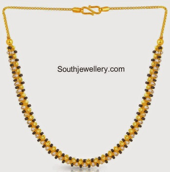 Steps Chain Black Beads Mangalsutra In Gold