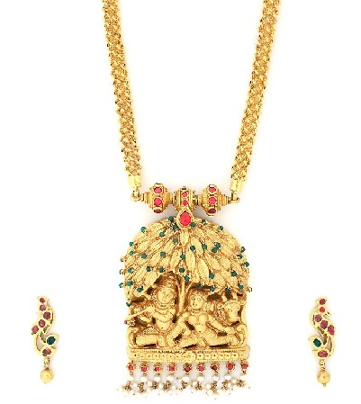 9 best temple gold jewellery designs gold temple jewellery designs radha krishna pendant necklace mozeypictures Image collections